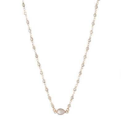 Glass And Semiprecious Crystal Short Pendant Necklace