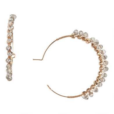 Gold And Gray Glass Beaded Hoop Earrings