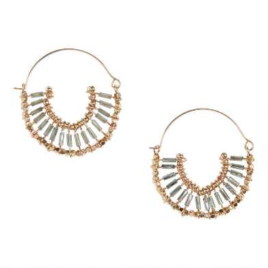 Gold And Gray Long Beaded Hoop Earrings