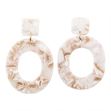 Ivory And Caramel Modern Acrylic Drop Earrings