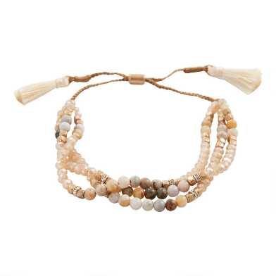 Tan Semiprecious Stone Beaded Wrap Bracelet
