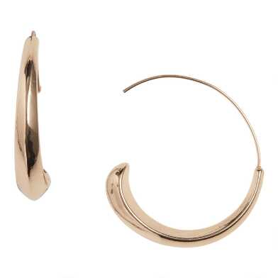 Gold Modern Tapered Hoop Earrings