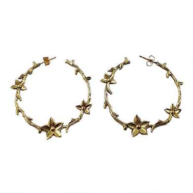 Gold Etched Floral Hoop Earrings