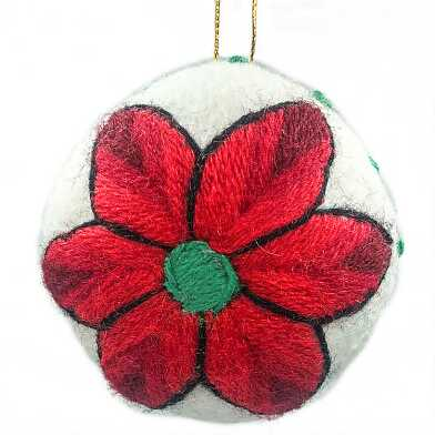 Peruvian Felted Poinsettia Holiday Ornament