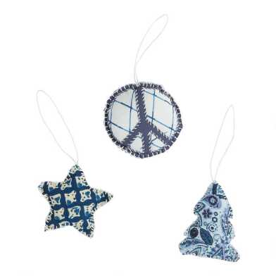 Blue and White Upcycled Fabric Silaiwali Ornaments Set of 3