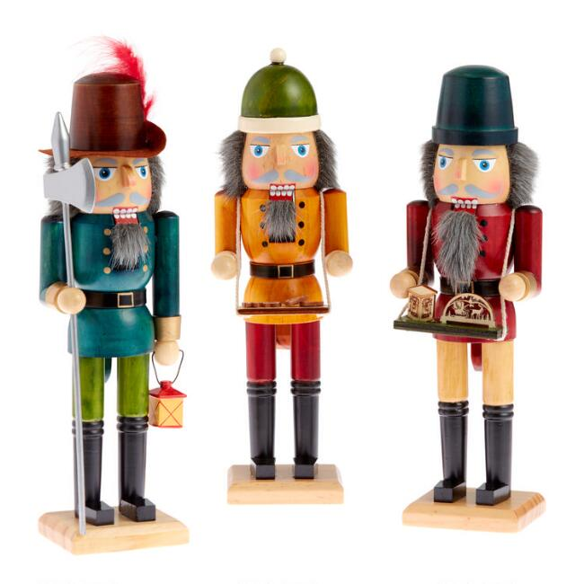 Stained Wood German Style Nutcrackers Set of 3