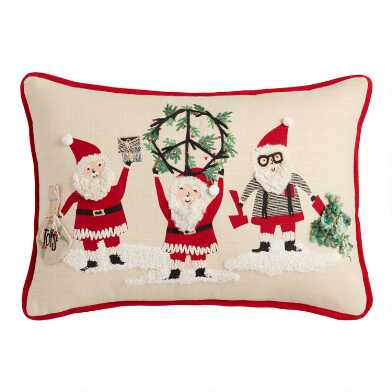 Peace Santas Embroidered Lumbar Pillow