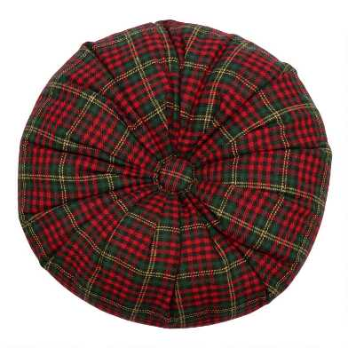 Round Red Plaid Tufted Throw Pillow