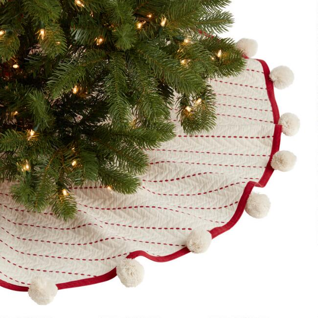 Ivory and Red Velvet Quilted Tree Skirt