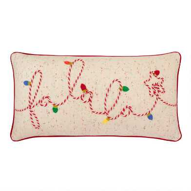 Fa La La Embroidered Lumbar Pillow