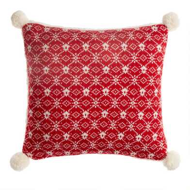 Red Snowflake Knit Throw Pillow