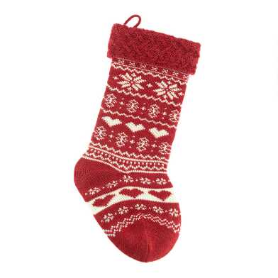 Mini Hearts and Snowflakes Knit Christmas Stocking