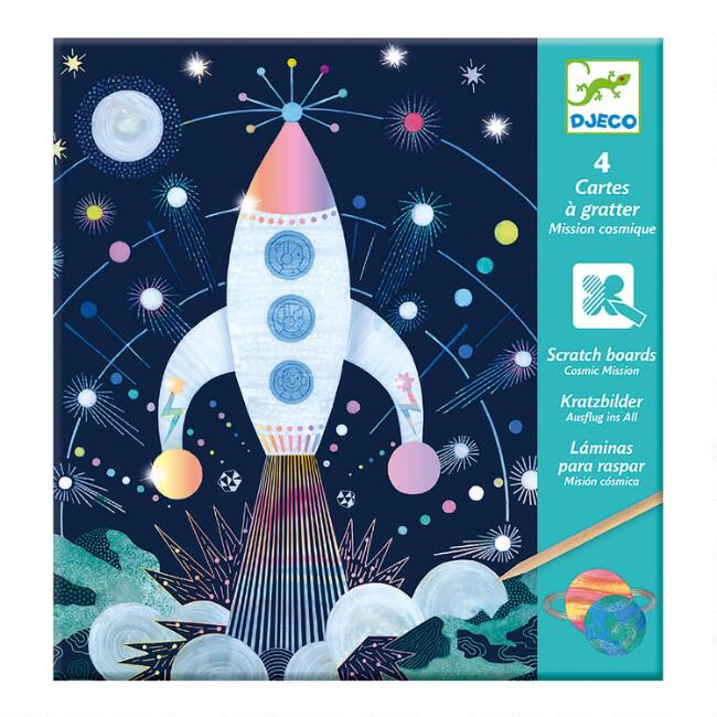 Djeco Cosmic Mission Scratch Card Art Kit