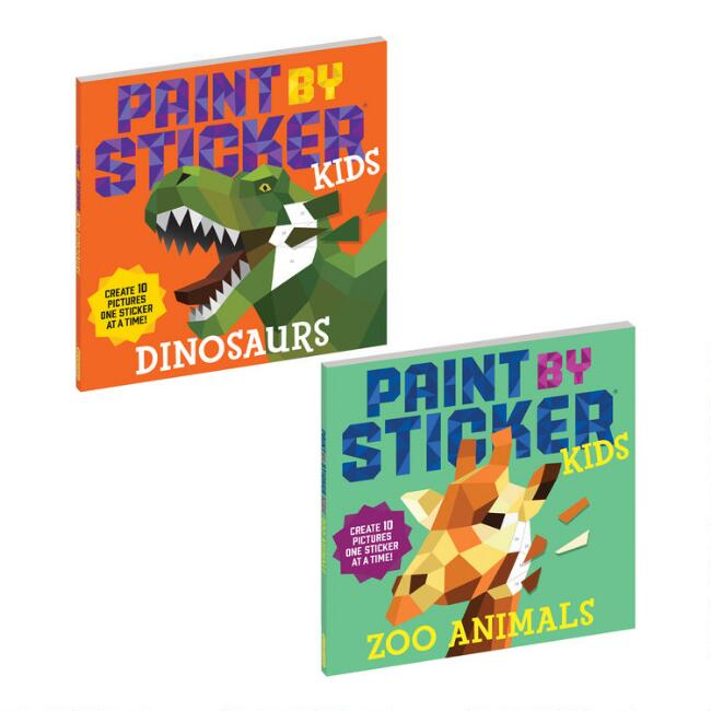 Dino and Zoo Paint by Sticker Kids Activity Books Set of 2