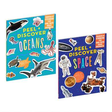 Space and Ocean Peel and Discover Sticker Books Set of 2