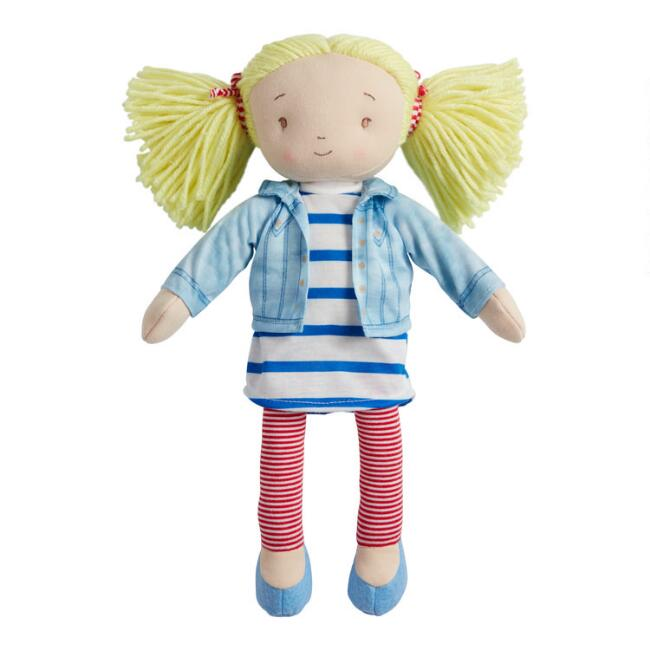Global Sisters Denim and Stripes Plush Stuffed Doll