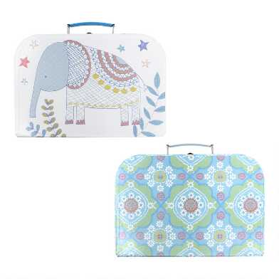 Elephant and Flower Kids Cardboard Suitcases Set of 2