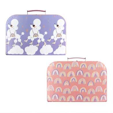 Rainbow and Poodle Kids Cardboard Suitcases Set of 2