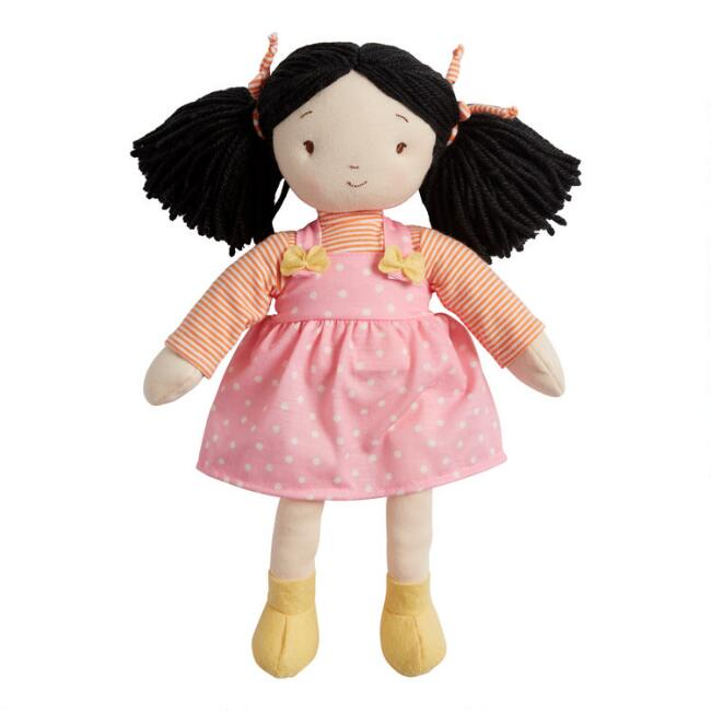 Global Sisters Pink Dotted Pinafore Plush Stuffed Doll