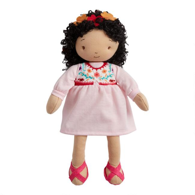 Global Sisters Pink and Floral Dress Plush Stuffed Doll