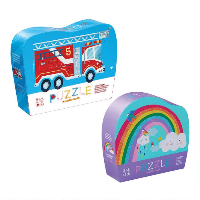 Crocodile Creek Mini Fire Truck and Rainbow Puzzles Set of 2