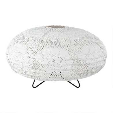 White Laser Cut Fabric Oval Alisha Accent Lamp