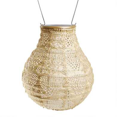 Geometric Wave Fabric Bulb Solar LED Lantern