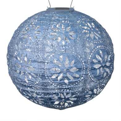 Round Geometric Fabric Solar LED Lantern