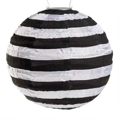 Round Black and White Stripe Fabric Solar LED Lantern