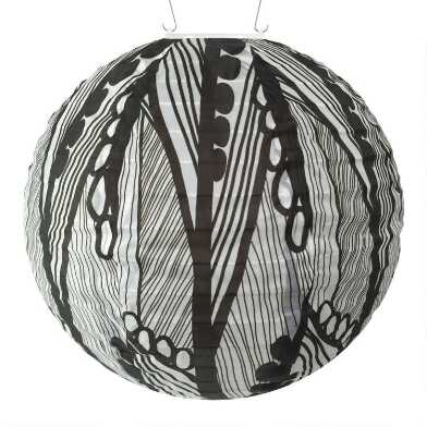 Round Black and White Leaf Fabric Solar LED Lantern
