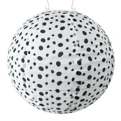 Round Black and White Dots Fabric Solar LED Lantern