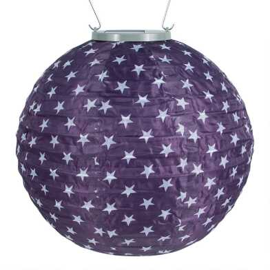 Round Blue and White Stars Fabric Solar LED Lantern