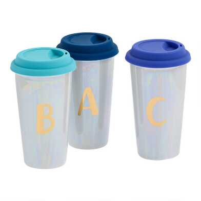 Iridescent Monogram Double Wall Ceramic Tumbler with Lid