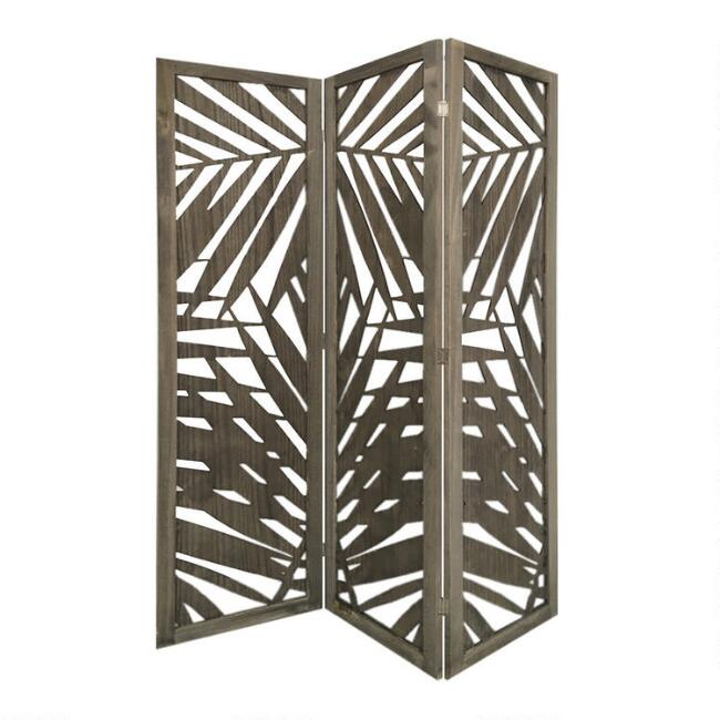 Gray Tropical Wood 3 Panel Briggs Folding Screen