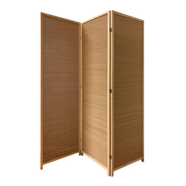 Honey Brown Bamboo 3 Panel Mehar Folding Screen