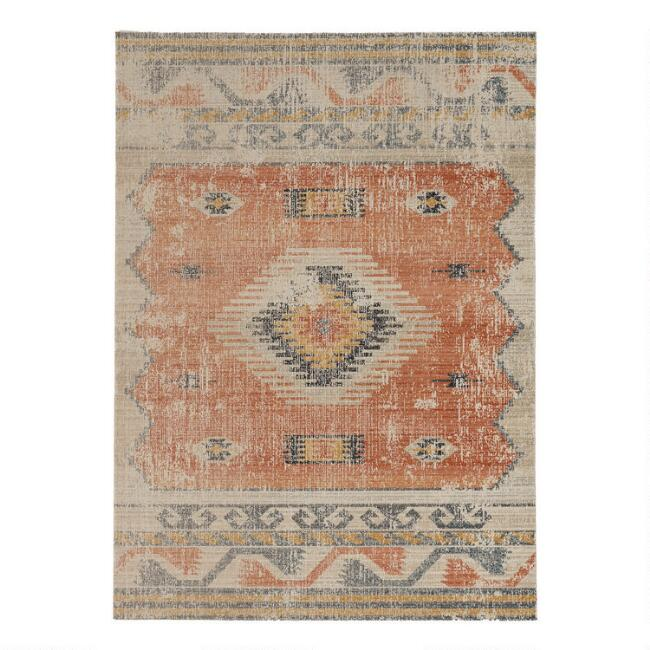 Distressed Ivory and Rust Plateau Area Rug