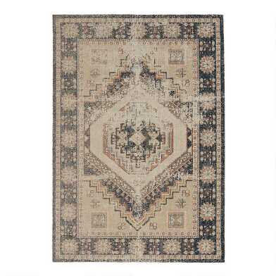 Distressed Ivory and Navy Medallion Mesa Area Rug