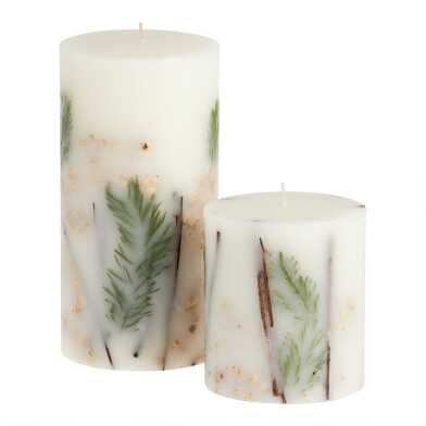 White and Gold Botanical Pillar Candle