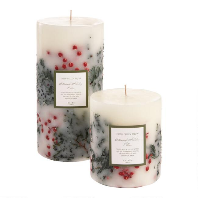White and Red Botanical Pillar Candle