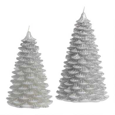 Silver Glittered Christmas Tree Candle