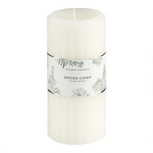 6 Inch White Spiced Cider Pillar Candle