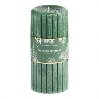 6 Inch Green Frosted Cypress Pillar Candle