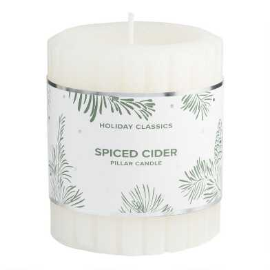 3 Inch White Spiced Cider Pillar Candle