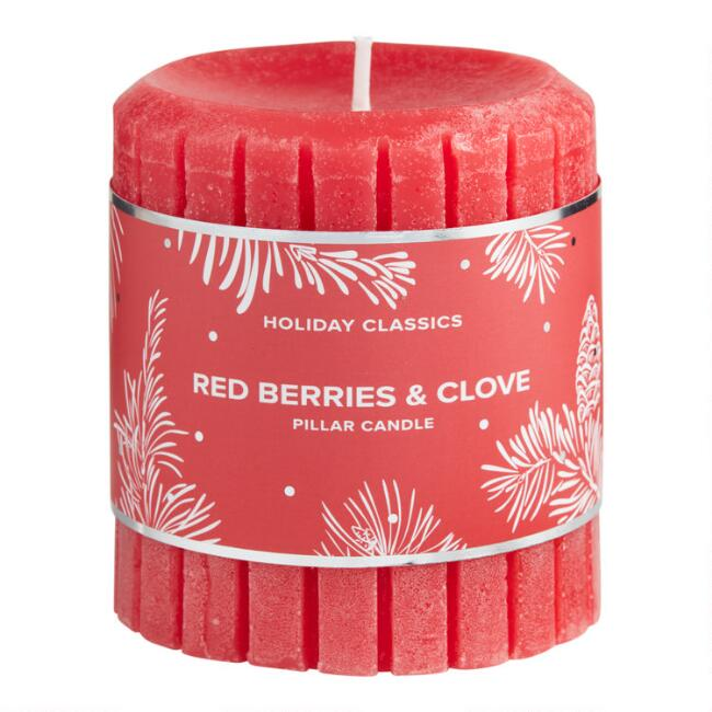 3 Inch Red Berries and Clove Pillar Candle