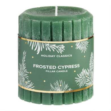 3 Inch Green Frosted Cypress Pillar Candle