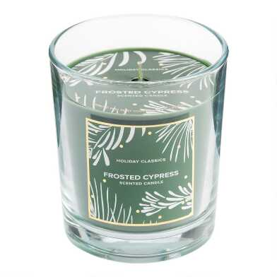 Green Frosted Cypress Filled Jar Candle