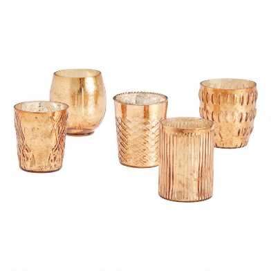 Copper Mercury Glass Votive Candleholders Set of 5