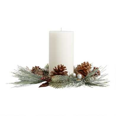 Faux Pine and Gold Berry Candle Ring