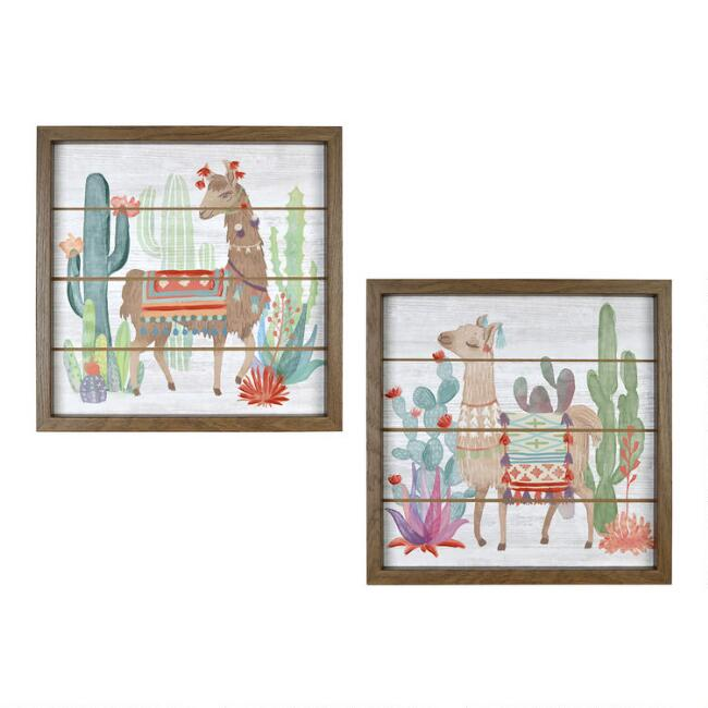 Llama By Mary Urban Framed Wood Plank Wall Art 2 Piece