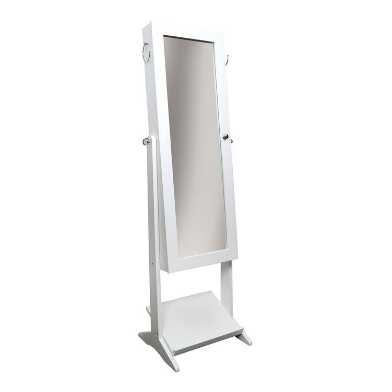 White Standing Floor Mirror With Jewelry Storage